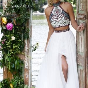 Sherri Hill dress (crop top, long tulle skirt)